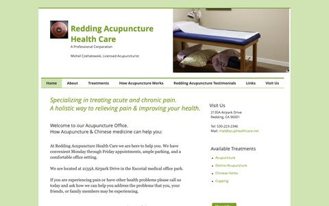 Screenshot of Home Page acuphealthcare.net - Redding Acupuncture Health Care - captured Oct. 18, 2018