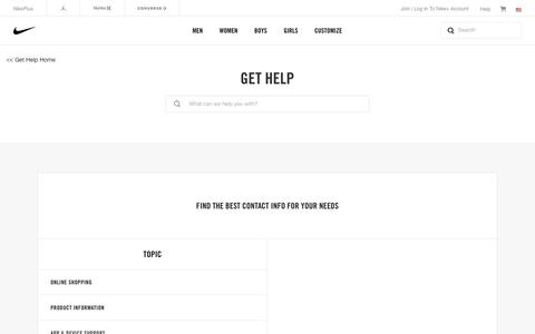 Screenshot of Contact Page nike.com - Contact Nike Support. Get Help via chat or phone. - captured Aug. 15, 2017