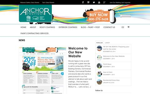 Screenshot of Press Page anchorcoatings.com - News | Anchor Coatings, Inc. - captured Feb. 6, 2016
