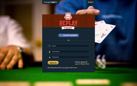 Screenshot of Signup Page replaypoker.com - Free Texas Holdem, Free Online Poker · Replay Poker - captured Nov. 4, 2014