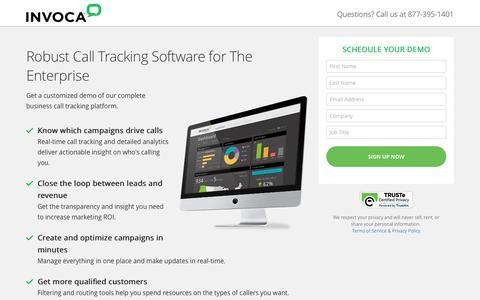 Screenshot of Landing Page invoca.com - Call Tracking Demo | Invoca - captured April 26, 2018