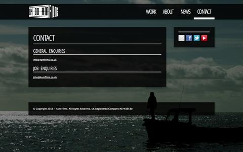 Screenshot of Contact Page 4amfilms.co.uk - Contact - 4am Films - captured Oct. 27, 2014
