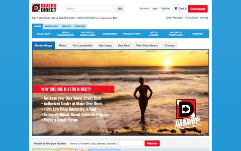 Screenshot of Locations Page diversdirect.com - Divers Direct | Stop Into One of Our Six Florida Dive Shops for Great Selection of Top Brand Name Scuba Gear. Powered by GearUp Experts. - captured Jan. 7, 2016