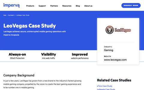 Screenshot of Case Studies Page imperva.com - LeoVegas Case Study | Resource Center | Imperva - captured April 1, 2019