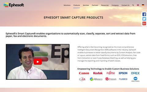 Screenshot of Products Page ephesoft.com - Products - Ephesoft Inc. - captured Aug. 21, 2016