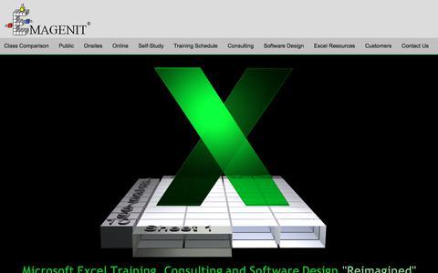 Screenshot of Home Page emagenit.com - Live Instructor Led Microsoft Excel Training, Excel VBA Training, Excel Software Design - captured Nov. 26, 2017