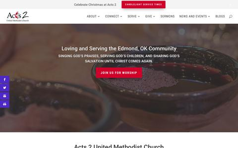 Screenshot of Home Page acts2umc.org - Connecting and Serving Individuals in Edmond, OK and Beyond - captured Dec. 18, 2018