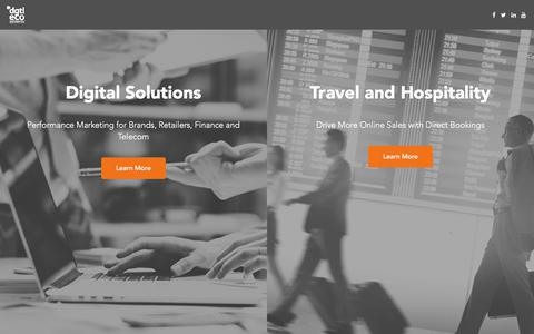 Screenshot of Home Page digitalecosystems.com - Digital Ecosystems | Performance Marketing Solutions | Performance Marketing for Brands, Retailers, Finance and Telecom - captured Oct. 12, 2017