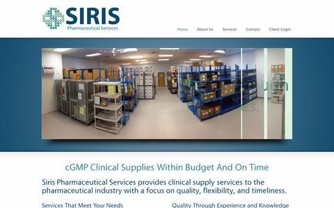 Screenshot of Home Page sirispharma.com - Clinical Supply Services   cGMP Clinical Trial Materials - captured Nov. 19, 2016