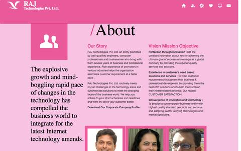 Screenshot of About Page rajtechnologies.com - vision mission web design development company india gujarat ahmedabad - captured Oct. 27, 2014