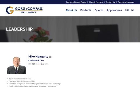 Screenshot of Team Page gorstcompass.com - Leadership – Gorst and Compass Insurance - captured June 19, 2019