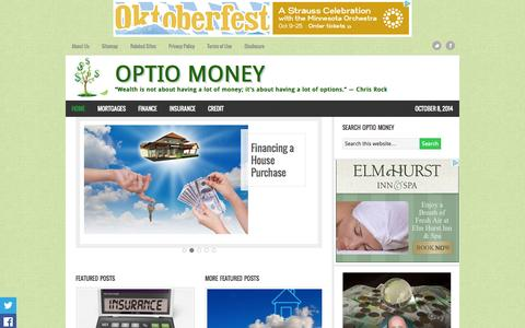 """Screenshot of Home Page optiomoney.com - Optio Money - """"Wealth is not about having a lot of money; it's about having a lot of options."""" — """"Wealth is not about having a lot of money; it's about having a lot of options.""""  ― Chris Rock - captured Oct. 9, 2014"""