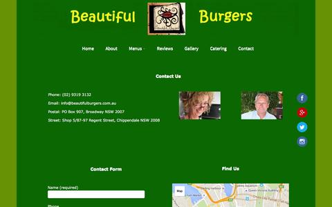 Screenshot of Contact Page beautifulburgers.com.au - Beautiful Burgers | Contact Us - captured Dec. 31, 2015