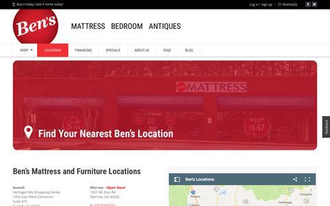 Screenshot of Locations Page bens.com - Ben's · Locations - captured Oct. 10, 2017