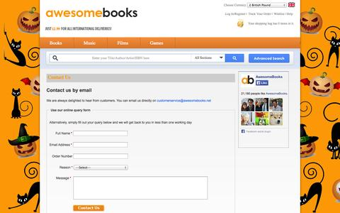 Screenshot of Contact Page awesomebooks.com - Contact Us - AwesomeBooks - captured Oct. 29, 2014