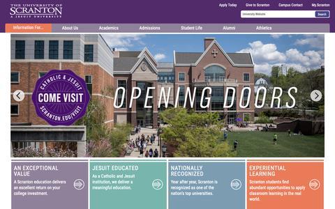 Screenshot of Home Page scranton.edu - The University of Scranton - captured Feb. 1, 2019