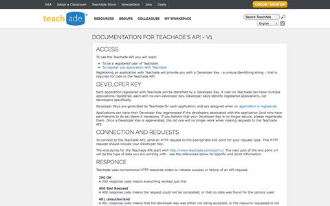 Screenshot of Developers Page teachade.com - TeachAde - API Documentation - captured Oct. 2, 2014