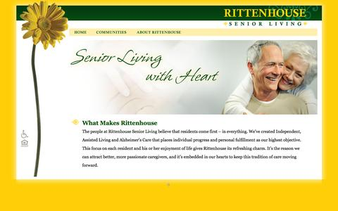 Screenshot of Home Page rittenhousesl.com - Rittenhouse Senior Living - Senior Living, Assisted Living and Memory Care - captured Feb. 23, 2016