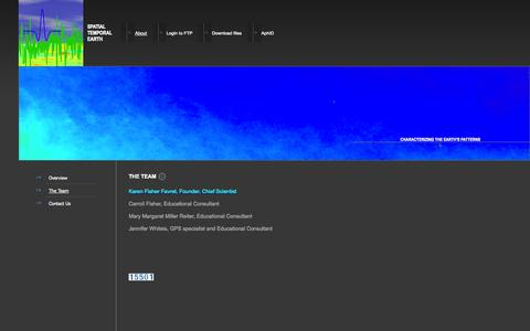 Screenshot of Team Page spatialtemporalearth.com - Spatial Temporal Earth - The Team - captured Sept. 30, 2014