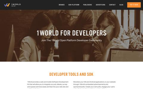 Screenshot of Developers Page 1worldonline.com - Developers — 1World Online - captured Nov. 3, 2018