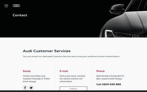 Screenshot of Contact Page audi.co.uk - Contact Us | Audi UK - captured Oct. 5, 2019