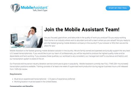 Screenshot of Jobs Page mobileassistant.us - Mobile Assistant Careers - Mobile Dictation Service by Mobile Assistant - captured Aug. 19, 2019