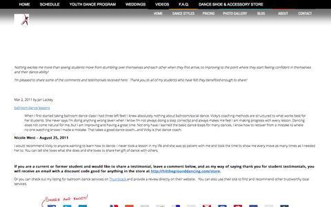 Screenshot of Testimonials Page hitthegrounddancing.com - Testimonials  –  Hit the Ground Dancing - captured Sept. 30, 2014