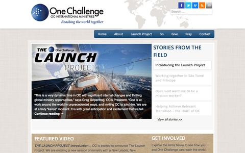 Screenshot of Home Page onechallenge.org - OC International - captured Oct. 7, 2014