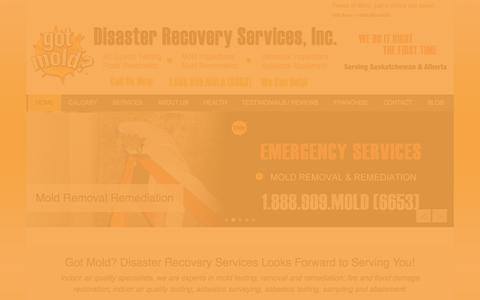 Screenshot of Home Page Menu Page gotmold.ca - Mold and Asbestos Removal, Testing, Inspections and Flood Restoration. - captured Oct. 3, 2014