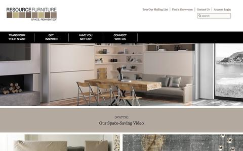 Screenshot of Home Page resourcefurniture.com - Space Saving Furniture | Resource Furniture | Wall Beds & More - captured Sept. 23, 2014