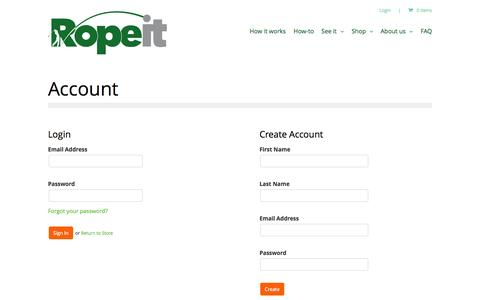 Screenshot of Login Page theropeit.com - Account | The Ropeit - captured Oct. 6, 2014