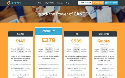 Screenshot of Pricing Page canddi.com - CANDDi » Pricing - UK Monthly plan - captured Nov. 18, 2015