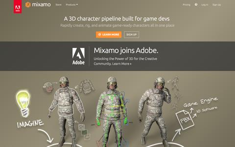 Screenshot of Home Page mixamo.com - 3D Animation Online Services, 3D Characters, and Character Rigging - Mixamo - captured Sept. 10, 2015