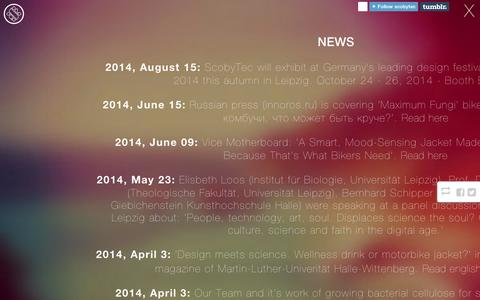 Screenshot of Press Page tumblr.com - ScobyTec — News - captured Sept. 11, 2014