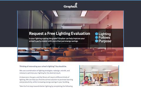 Screenshot of Landing Page graybar.com - Request a Lighting Evaluation - captured May 22, 2018