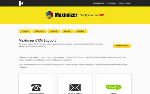 Screenshot of Support Page interactivehive.com - Maximizer CRM Support for Maximizer Users - captured Sept. 30, 2014
