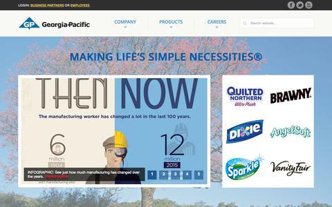 Screenshot of Home Page gp.com - Georgia-Pacific - captured Oct. 5, 2015