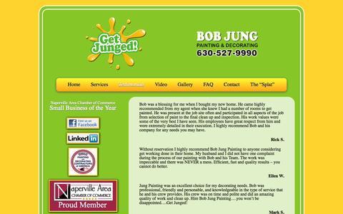 Screenshot of Testimonials Page bobjungpainting.com - Testimonials- Bob Jung Painting - Naperville Painting - captured Oct. 27, 2014