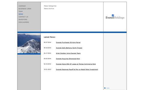 Screenshot of Press Page everestholdings.com - News - captured Sept. 30, 2014