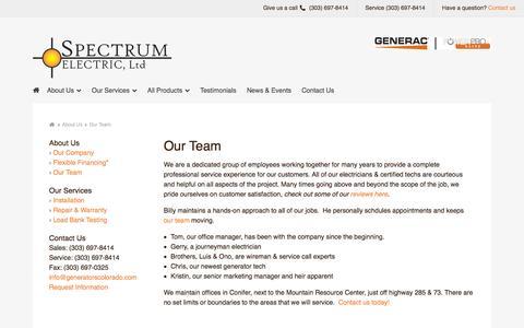 Screenshot of Team Page generatorscolorado.com - Our Team - captured Oct. 6, 2014