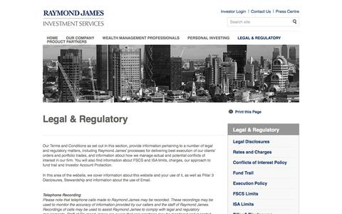 Legal & Regulatory | Raymond James Investments Services