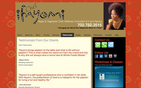 Screenshot of Testimonials Page ifayomi.com - Testimonials From Our Clients - Ifayomi - captured Oct. 6, 2014