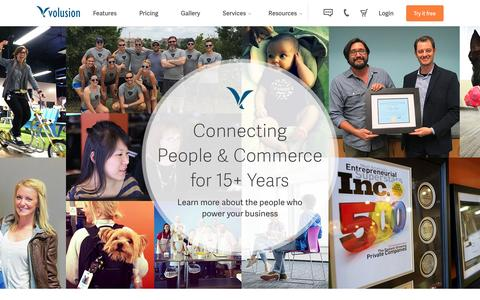 Screenshot of About Page volusion.com - Connecting People & Commerce for 15+ Years | Volusion - captured March 17, 2016