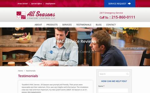 Screenshot of Testimonials Page allseasonscomfortcontrol.com - HVAC Testimonials · All Seasons Comfort Control, LLC - captured May 29, 2017