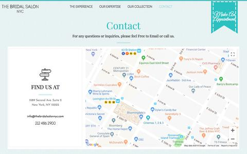 Screenshot of Contact Page thebridalsalonnyc.com - Contact Us | The Bridal Salon NYC - captured Aug. 19, 2018