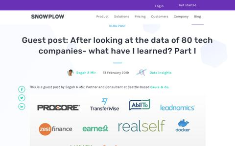 Screenshot of Blog snowplowanalytics.com - Guest post: After looking at the data of 80 tech companies- what have I learned? Part I - captured Feb. 10, 2020