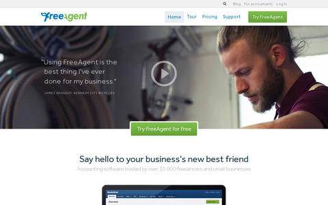 Screenshot of Home Page freeagent.com - Accounting software, simplified - FreeAgent - captured July 11, 2014