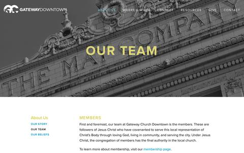 Screenshot of Team Page gatewaydowntown.com - Our Team — Gateway Church Downtown - captured Feb. 15, 2019