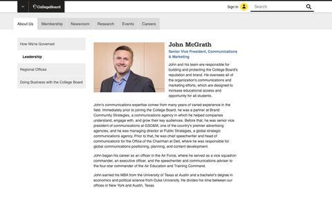 Screenshot of Team Page collegeboard.org - John McGrath - Senior Vice President, Communications - The College Board - captured Jan. 4, 2019