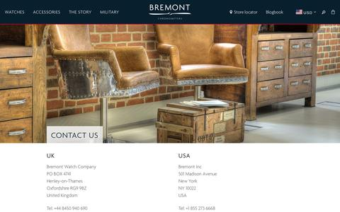 Screenshot of Contact Page bremont.com - Contact Us — Bremont Watches USA - captured Dec. 12, 2018